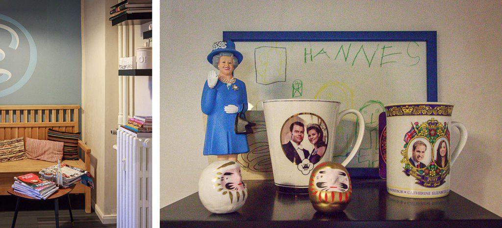 Kollage: Gemütliche Sitzecke und Royale Souvenirs