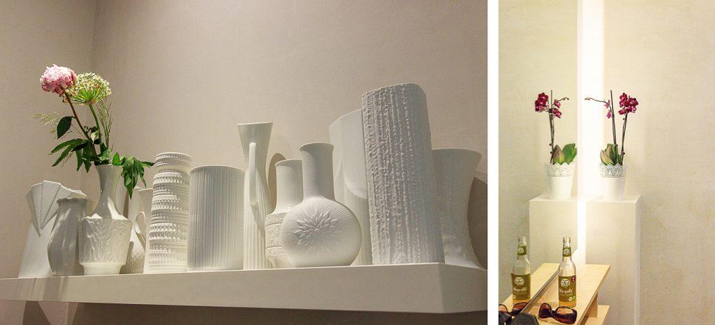 Kollage: Weiße Vasen Sammlung und Beleuchteter Spiegel mit Orchidee