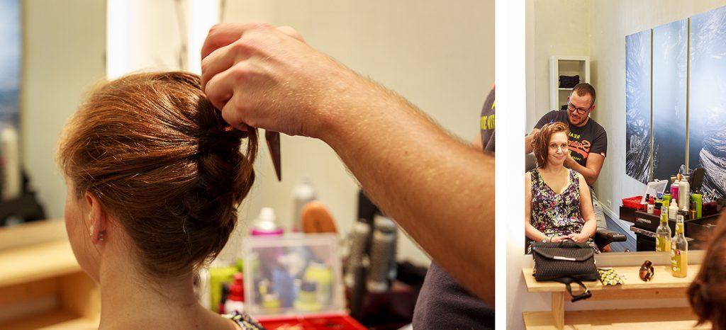 Kollage: Johannes macht Kundin die Haare schön