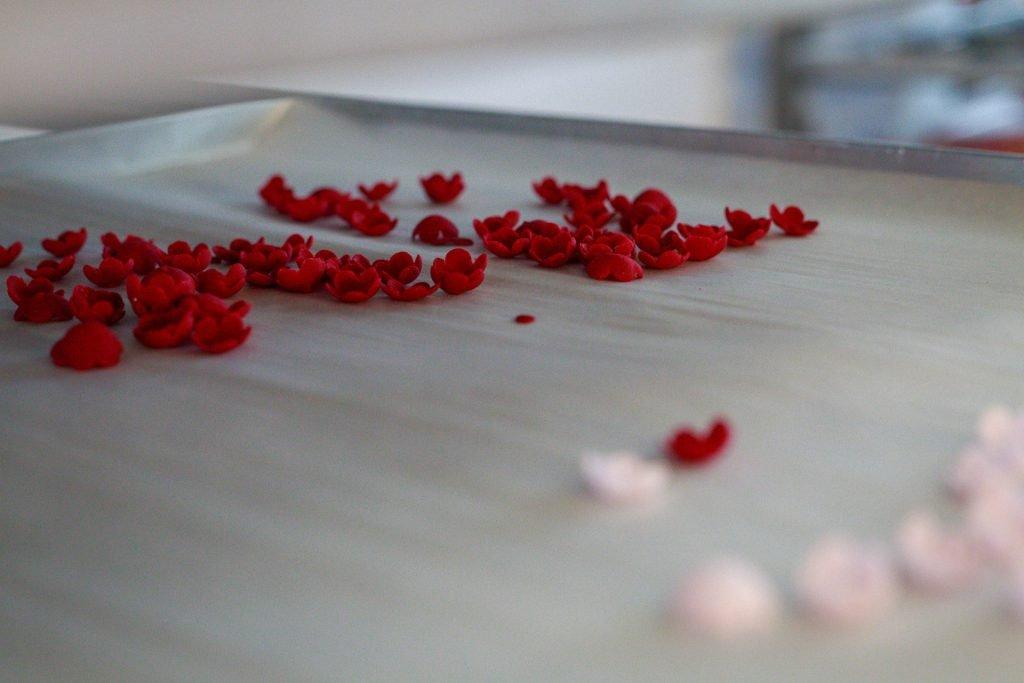 Kleine rote und rosa Blüten für Torten