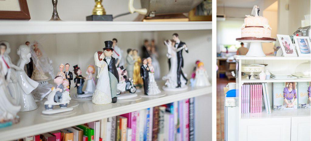 Kollage: Hochzeitspaare im Regal und Bücherschrank mit Dekotorte