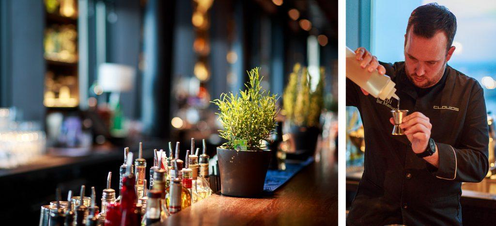40 Stunden - Kollage - Blick hinter die Bar und Richi misst für einen Drink ab