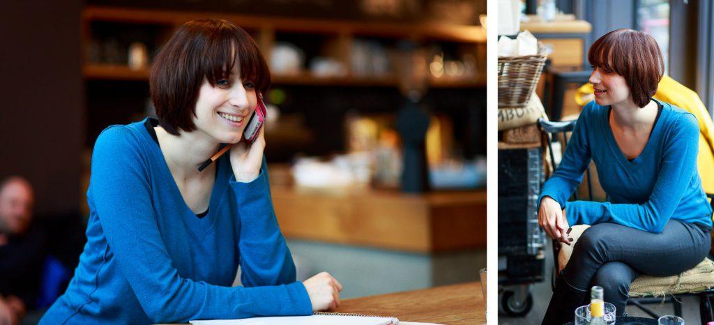 40 Stunden - Kollage - Anne-Katrin im Gespräch und am Telefon