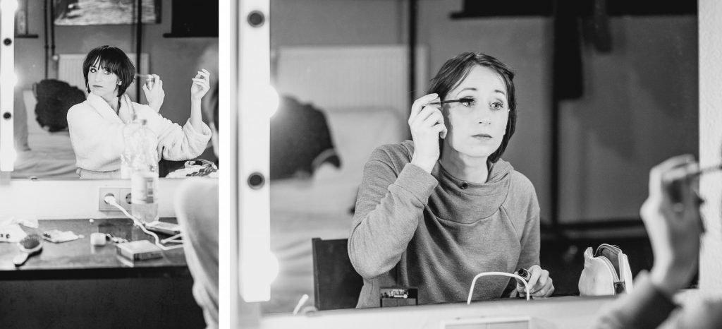 40 Stunden - Kollage - Anne-Katrin schminkt sich vorm Auftritt