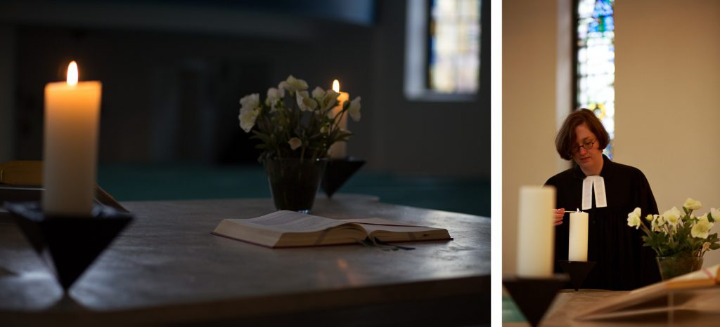 40 Stunden - Kollage - Blick auf den Altar mit Kerzen und Pastorin Thode zündet Kerzen an