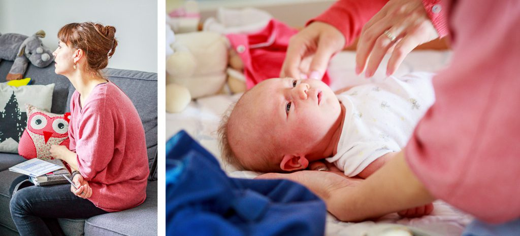 40 Stunden - Kollage - Sophie im Gespräch und Baby wird ausgezogen