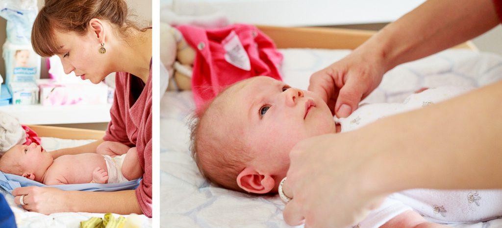 40 Stunden - Kollage - Sophie untersucht ein Kind auf dem Wickeltisch