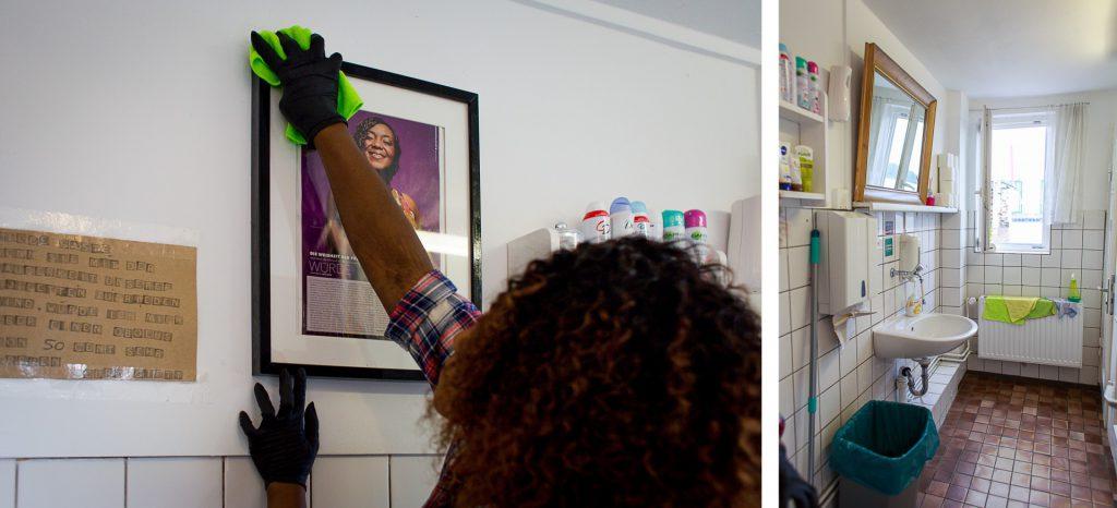 40 Stunden - Kollage - Gifty reinigt ein Fotos von sich und Einblick ins Damenklo