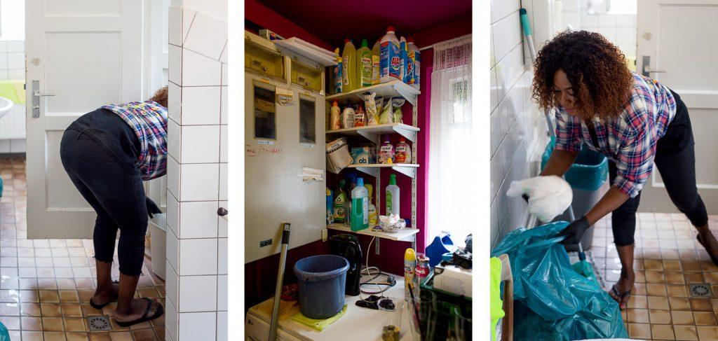 40 Stunden - Kollage - Reinigungsmittel und Gifty beim Saubermachen