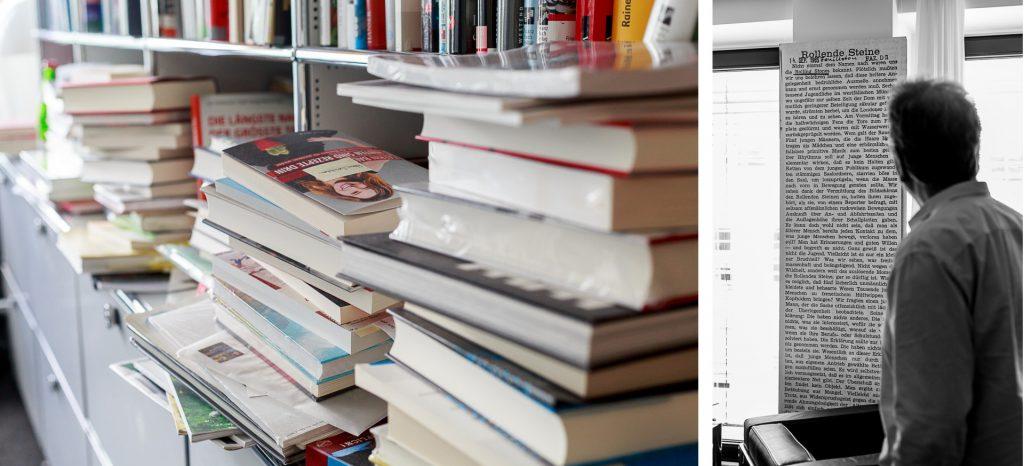40 Stunden - Kollage - Schnibben in seinem Büro und Bücherflut