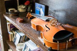 In einem Regal liegt eine Geige.